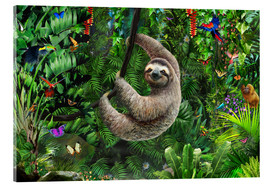 Akrylglastavla  Sloth in the jungle - Adrian Chesterman
