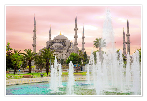 Premiumposter the blue mosque (magi cami) in Istanbul / Turkey (vintage picture)