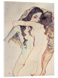 Akrylglastavla  Two women in embrace - Egon Schiele