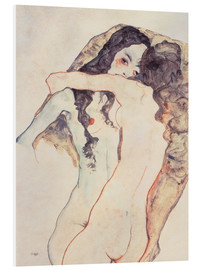 PVC-tavla  Two women in embrace - Egon Schiele