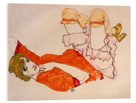 Akrylglastavla  Wally in a red blouse with knees lifted up - Egon Schiele