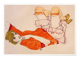 Premiumposter  Wally in a red blouse with knees lifted up - Egon Schiele