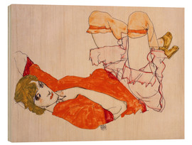 Trätavla  Wally in a red blouse with knees lifted up - Egon Schiele