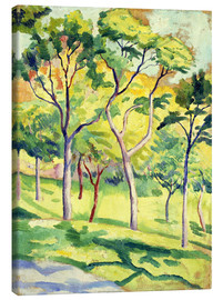 Canvastavla  Trees on a lawn - August Macke