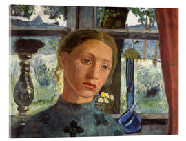 Akrylglastavla  A girl's head in front of a window - Paula Modersohn-Becker