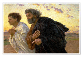 Premiumposter Morning of the resurrection, Peter and John on their way to the grave