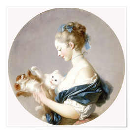 Premiumposter Girl with a dog and a cat