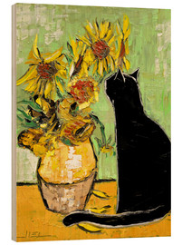 Trätavla  The cat of Van Gogh - JIEL
