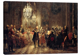 Canvastavla  Frederick the Great Playing the Flute at Sanssouci - Adolph von Menzel