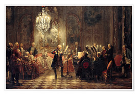 Premiumposter  Frederick the Great Playing the Flute at Sanssouci - Adolph von Menzel