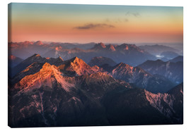 Canvastavla  Alps Panorama from Zugspitze at Sunrise - Andreas Wonisch