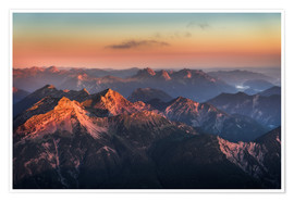 Premiumposter  Alps Panorama from Zugspitze at Sunrise - Andreas Wonisch