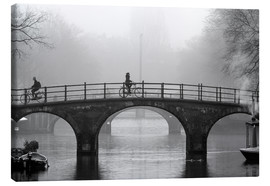 Canvastavla  Amsterdam canal in black and white - George Pachantouris