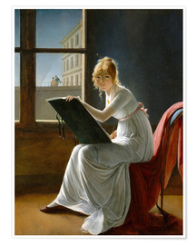 Premiumposter  Young Woman Drawing - Marie-Denise Villers