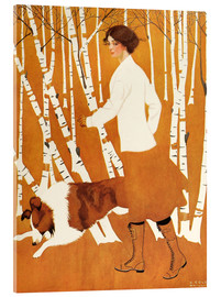 Akrylglastavla  Birches - Clarence Coles Phillips