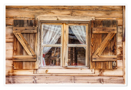 Premiumposter  Window of alps cabin in South Tyrol (Italy) - Christian Müringer