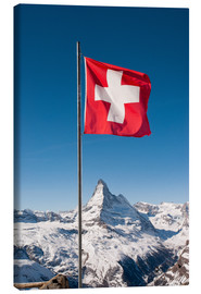 Canvastavla  Matterhorn with swiss flag. Zermatt, Switzerland. - Peter Wey