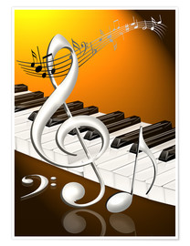 Premiumposter  dancing notes with clef and piano keyboard - Kalle60
