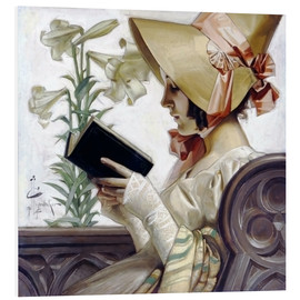 PVC-tavla  Lady with a book - Joseph Christian Leyendecker