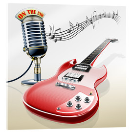Akrylglastavla  Electric guitar with microphone and music notes - Kalle60