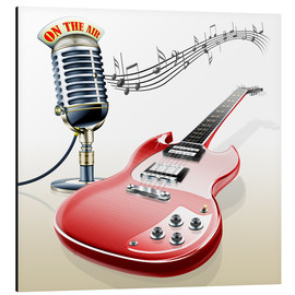Aluminiumtavla  Electric guitar with microphone and music notes - Kalle60