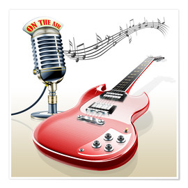 Premiumposter  Electric guitar with microphone and music notes - Kalle60