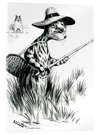 Akrylglastavla  Cat fishing - Louis Wain