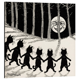 Aluminiumtavla  Cats at full moon - Louis Wain