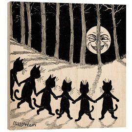 Trätavla  Cats at full moon - Louis Wain