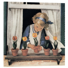Akrylglastavla  Potting tulips - Jessie Willcox Smith