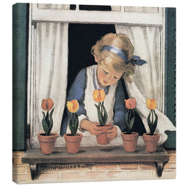 Canvastavla  Potting tulips - Jessie Willcox Smith