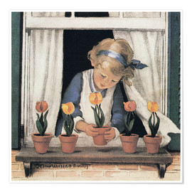 Premiumposter  Potting tulips - Jessie Willcox Smith