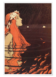 Premiumposter  Mermaid in a Pool with Goldfish - Franz Hein