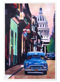 Premiumposter Cuban Oldtimer Street Scene in Havanna Cuba with Buena Vista Feeling