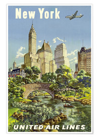 Premiumposter  New York United Airlines - Travel Collection