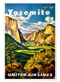 Premiumposter  Yosemite United Air Lines - Travel Collection