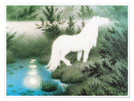 Premiumposter  The Nix as a white horse - Theodor Kittelsen