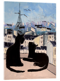 Akrylglastavla  Cats and doves over Paris - JIEL