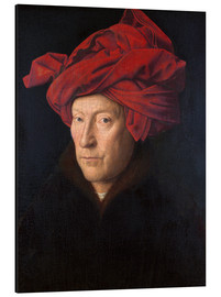 Aluminiumtavla  Portrait of a Man in a Red Turban - Jan van Eyck