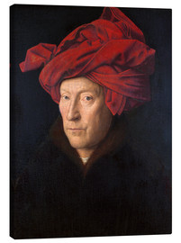 Canvastavla  Portrait of a Man in a Red Turban - Jan van Eyck