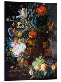 Akrylglastavla  Still Life with Flowers and Fruit - Jan van Huysum