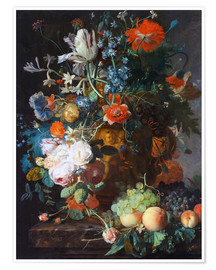 Premiumposter Still Life with Flowers and Fruit