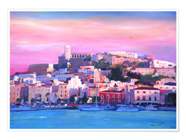 Premiumposter  Ibiza Old Town and Harbour - Pearl Of the Mediterranean Sea - M. Bleichner