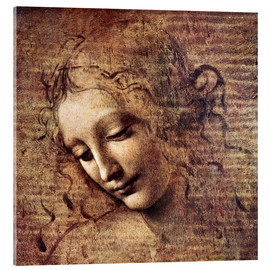 Akrylglastavla  Head of a Young Woman with Tousled Hair (La Scapigliata) - Leonardo da Vinci