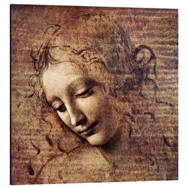 Aluminiumtavla  Head of a Young Woman with Tousled Hair (La Scapigliata) - Leonardo da Vinci