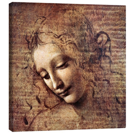 Canvastavla  Head of a Young Woman with Tousled Hair (La Scapigliata) - Leonardo da Vinci
