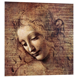 PVC-tavla  Head of a Young Woman with Tousled Hair (La Scapigliata) - Leonardo da Vinci