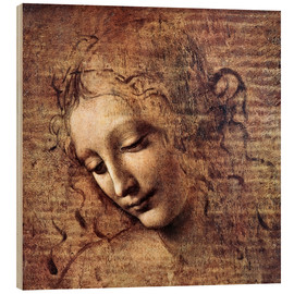 Trätavla  Head of a Young Woman with Tousled Hair (La Scapigliata) - Leonardo da Vinci