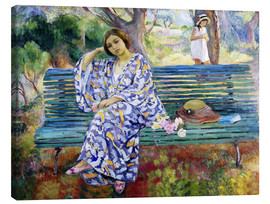 Canvastavla  Young woman sitting on a bench - Henri Lebasque