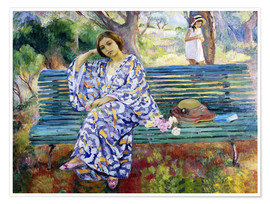 Premiumposter  Young woman sitting on a bench - Henri Lebasque